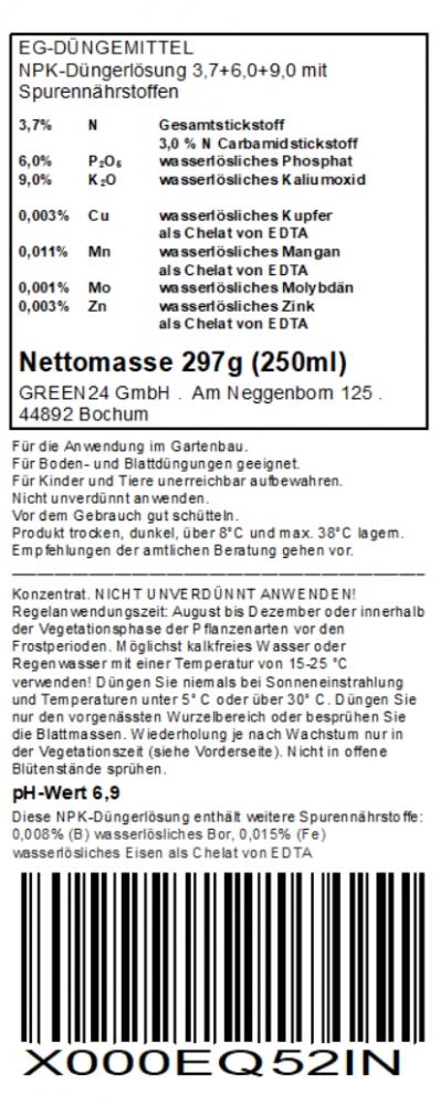 Herbst Winter Dunger Kalium 250ml Kaliumdunger Fur Bessere