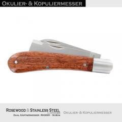 Dual Okulier- Kopuliermesser Edelstahl - Rosenholz