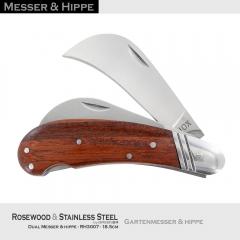 Dual Messer und Hippe RH3007 Rosenholz & Edelstahl-Klingen