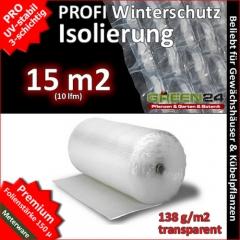 Isolierung komplett Set 15m2 Frostschutz Noppenfolie für Gewächshaus PRO3 Luftpolsterfolie, mit Halterungen und Kleber.