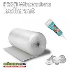 Isolierung komplett Set 7,5 m2 Noppenfolie Frostschutz für Gewächshaus PRO3 Luftpolsterfolie, 20 Halterungen und Kleber.