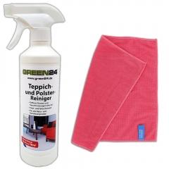 Teppich- und Polsterreiniger SET mit Mikrofasertuch - 500ml professioneller, tiefenwirksamer Schmutzlöser zur schonenden Intensivreinigung von Teppichböden