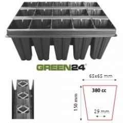 QP 15T15 BTP Baumschulen Anzuchtplatte Topfplatte 28x36cm (15 eckíge Töpfe BxLxH 65x65x150 mm) stabile Profi Multitopf-Platte