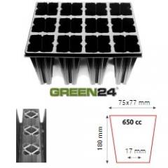 QP 12T18 BTP Baumschulen Anzuchtplatte Topfplatte 28x36cm (12 eckíge Töpfe BxLxH 75x77x180 mm) stabile Profi Multitopf-Platte